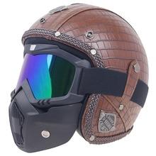 Professional Vintage 3/4 open face helmet DOT Approved motorbike helmet Leather cover helmets for adults with mask option цена в Москве и Питере