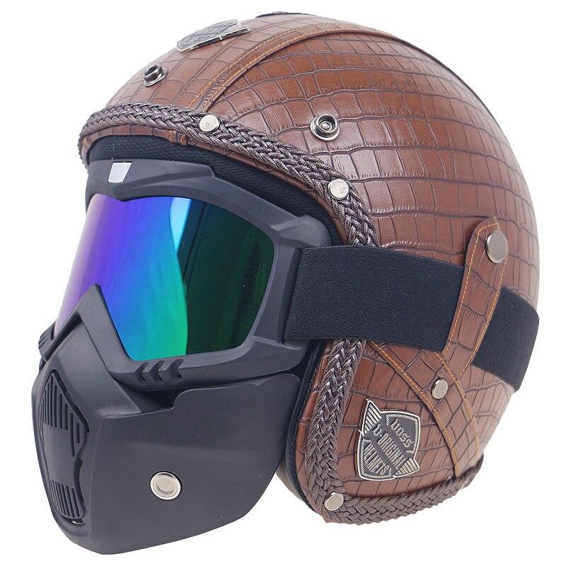 Professionnel Vintage 3/4 visage ouvert casque DOT approuvé moto casque en cuir couverture casques pour adultes avec option de masque