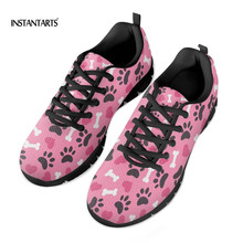 Купить с кэшбэком INSTANTARTS Flat Shoes Women Summer Breathable Comfortable Sneakers Cartoon Paw Pattern Students Shoe Zapator De Mujer 2019 New