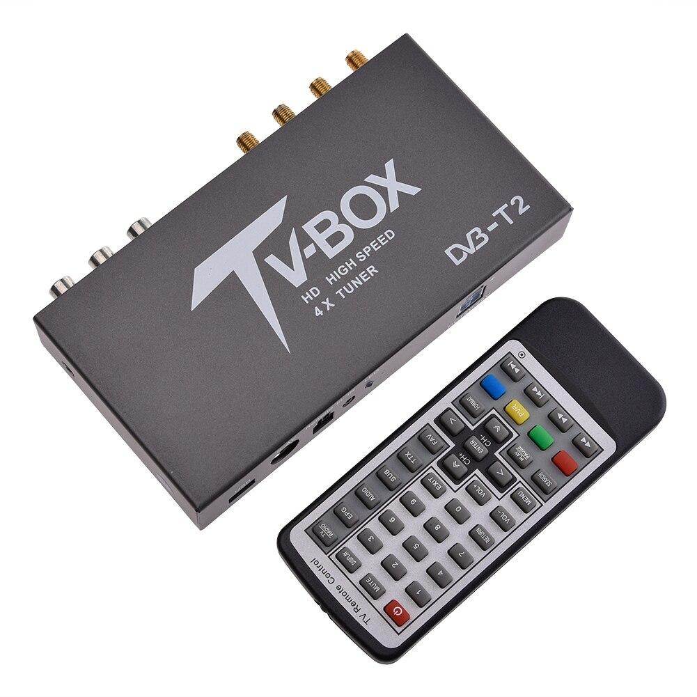 1080 P HD DVB-T EN300 744/DVB-T2 boîte de télévision HDMI USB AV MOV OSD DVB RCA boîte de télévision intelligente USB2.0 véritable récepteur quatre accordeurs