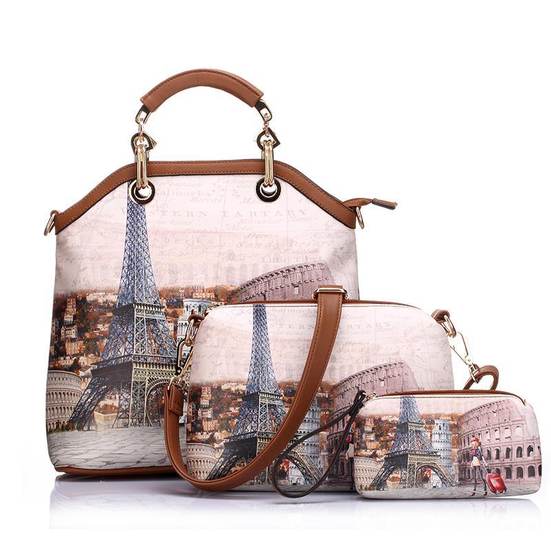 New bags brand printed vintage font b handbag b font PU leather womens medium big tote