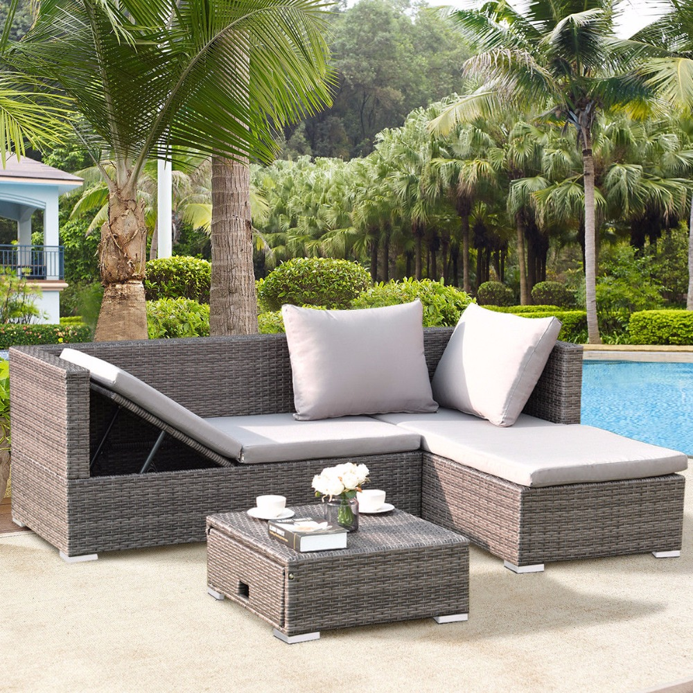 Giantex 3PCS Rattan Wicker Sofa Furniture Set Steel Frame Adjustable Seat Patio Garden  Outdoor Furniture HW58279+