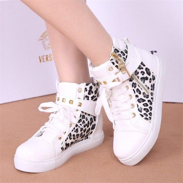 Женская парусиновая обувь на молнии, женские кроссовки на танкетке, женская обувь леопардовой расцветки на высоком каблуке, Женская теннисная обувь S1291