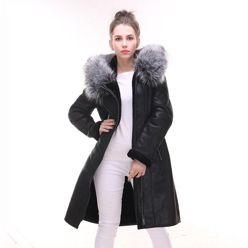 Black Nouvelle Fourrure Cuir Femme Veste Mujer Jaqueta Couro Cuero Mode Faux De En Slim Manteau Longue Chaqueta Fit Arrivée Col Femmes Hiver gwxYg1q8