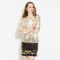 2019 New Style Sexy Lace Mesh Women Shirt Beading sequined Printed Slash Neck Bottoming Shirt Long sleeves Slim Bottoming Top
