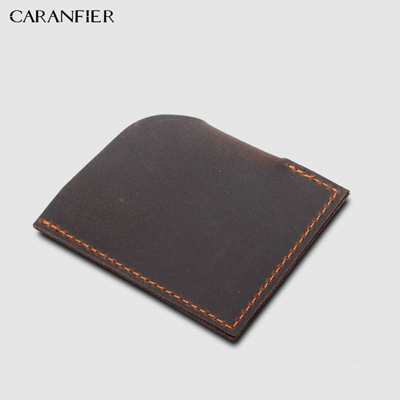 CARANFIER100 % หนังแท้ Crazy Horse Card & ID Holder ใหม่ล่าสุดสไตล์สำหรับแฟชั่นผู้ชายใส่เหรียญหรือ Crads ยี่ห้อกระเป๋าสตางค์