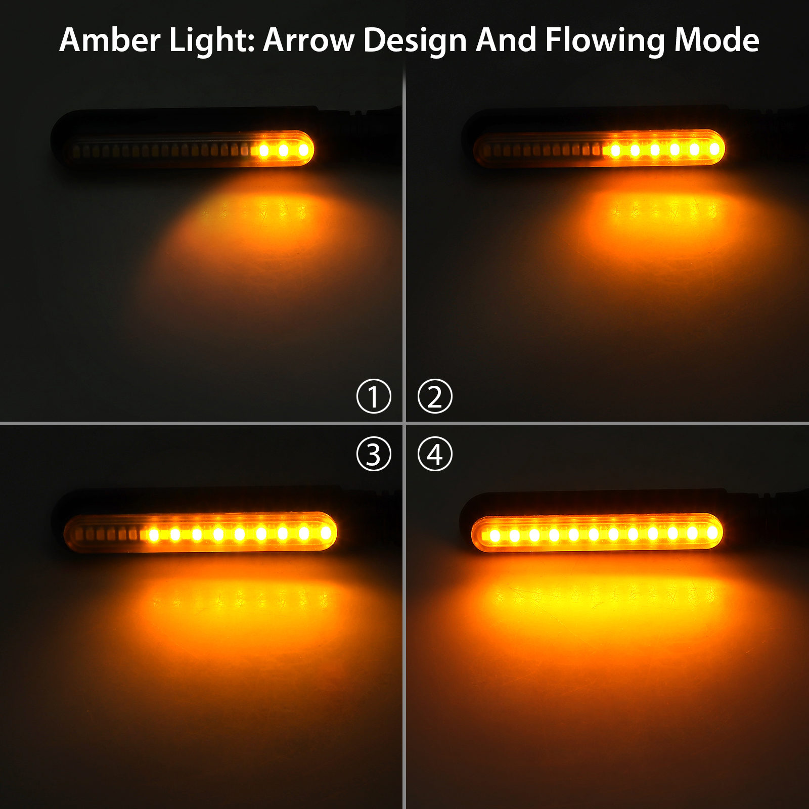 LED Turn Signal Lights Justech 4pcs Universal 12LEDs Flowing Waterproof Motorcycle Motorbike Turn Signal Indicator Amber Lights