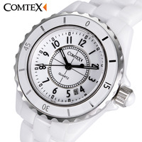 COMTEX Woman S Watch Fashion White Ceramic Watch Women Quartz Watch Ceramic WristWatch Lady Watch Top