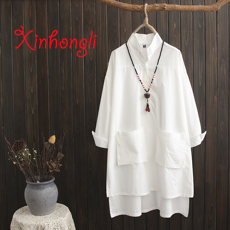 Plus Size Cotton Stand Collar Long White Blouse 2019 Spring Casual Pockets Ladies Drop Shoulder Sleeve Loose Shirts Female