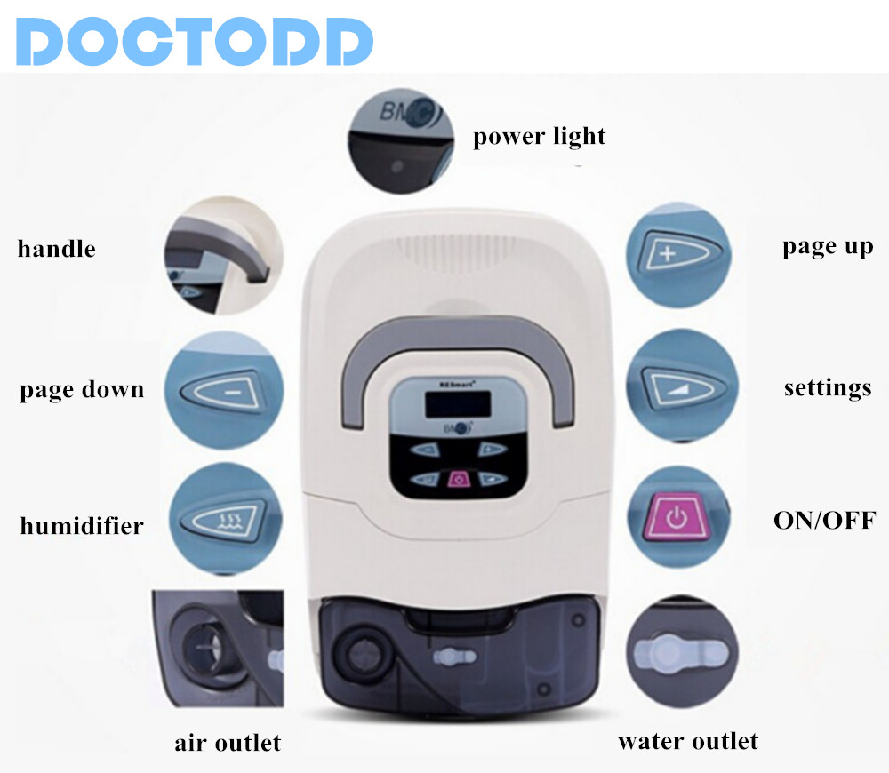 Doctodd GI CPAP Healthcare Medical CPAP Respirator for Sleep Apnea OSAHS OSAS Snoring People Free Mask Headgear Tube Bag CPAP цены онлайн