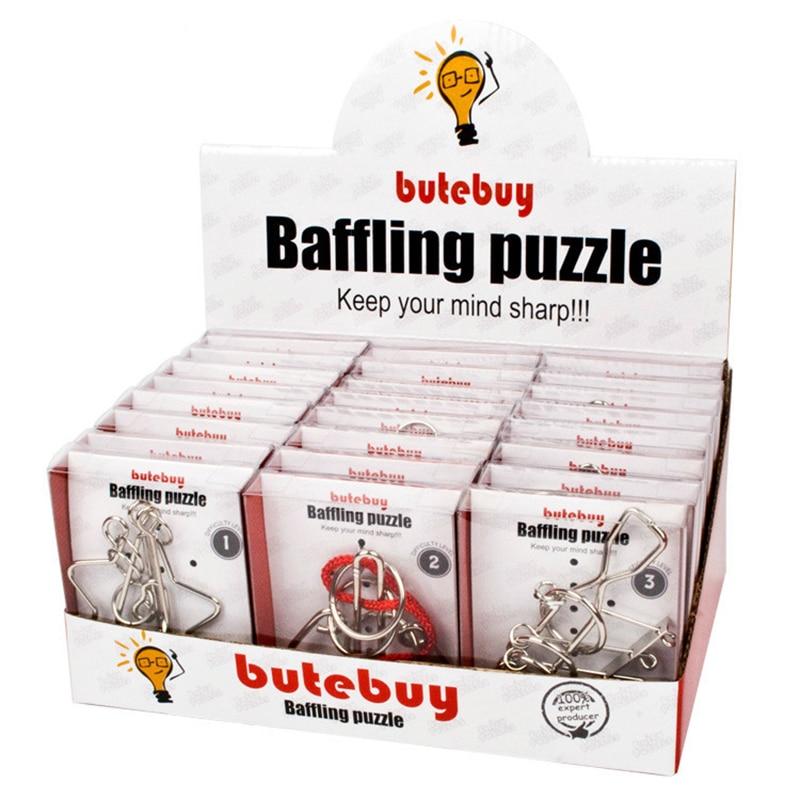 Butebuy formes géométriques fil métallique Puzzles casse-tête IQ noeuds classique intellectuel jouets éducatifs pour enfants en gros