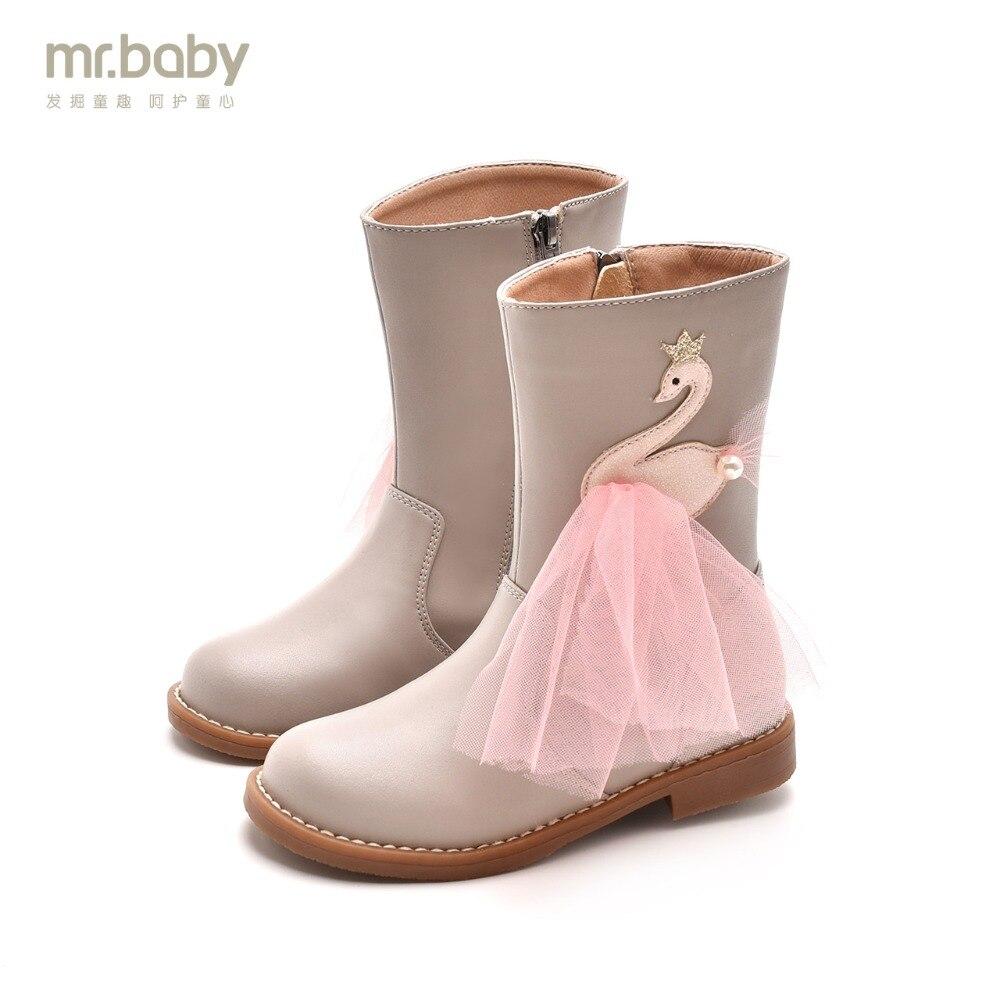 Mr.baby Original kids shoes 2018 New Winter Shine Crown Swan Yarn Princess boots Children boots coccodrillo coccodrillo жилет нарядный swan princess молочный