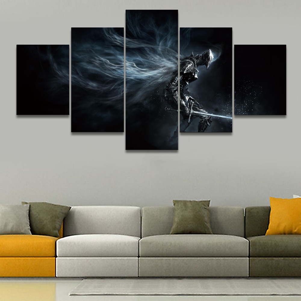 Canvas Pictures Home Decor Wall Art Modular Poster 5 Pieces Game Dark Souls III Boreal Outrider Knight Paintings For Living Room