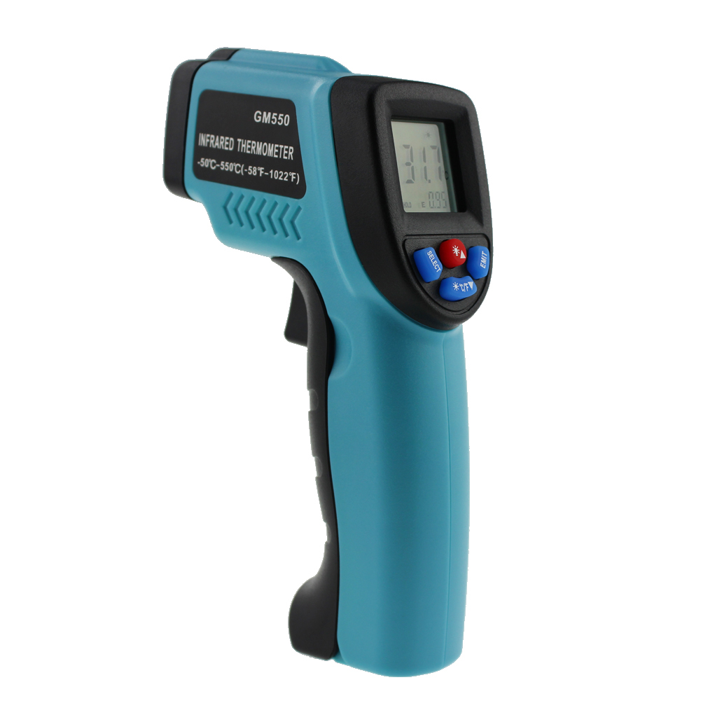 GM550 Digital Infrared Forehead Thermometer Pyrometer Aquarium Laser Thermometer Outdoor Thermometer IR Laser Point Tool