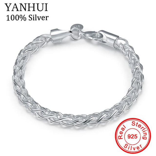 ae57d50090dc YANHUI Brand Classic 925 Sterling Silver Charm Bracelet Real Sterling Silver  Twisted Circle Bracelet Fashion Jewelry H070