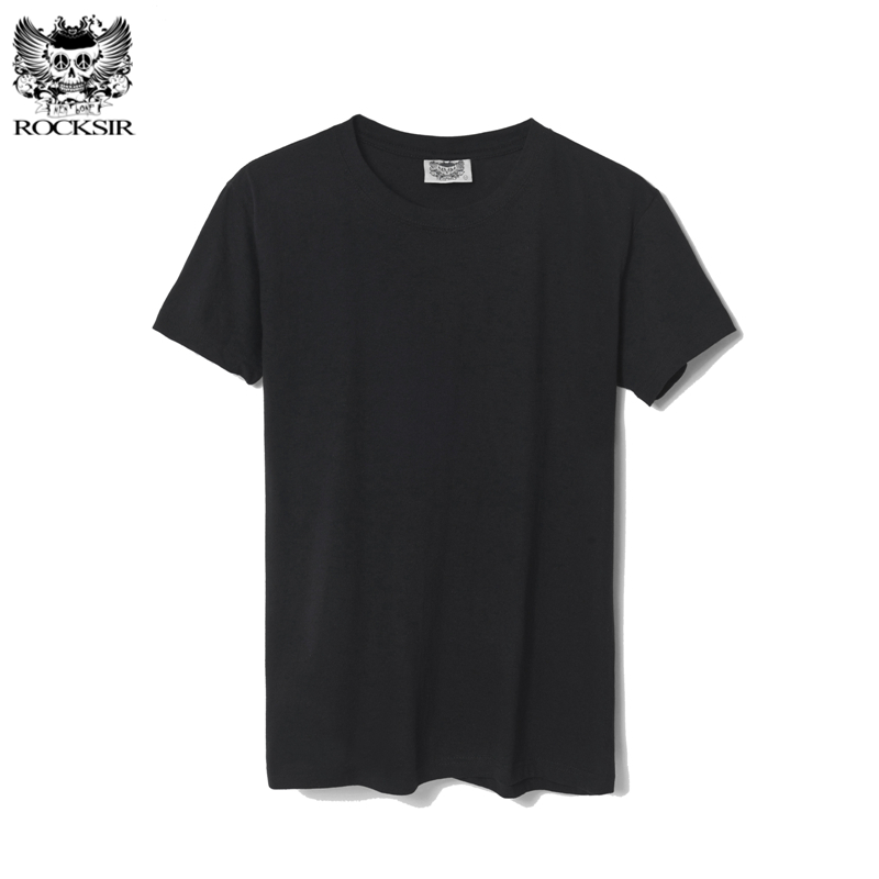 Rocksir Men's T-shirt summer Solid Color T shirt for men 100% cotton solid black T-Shirts Men white t shirts Tops