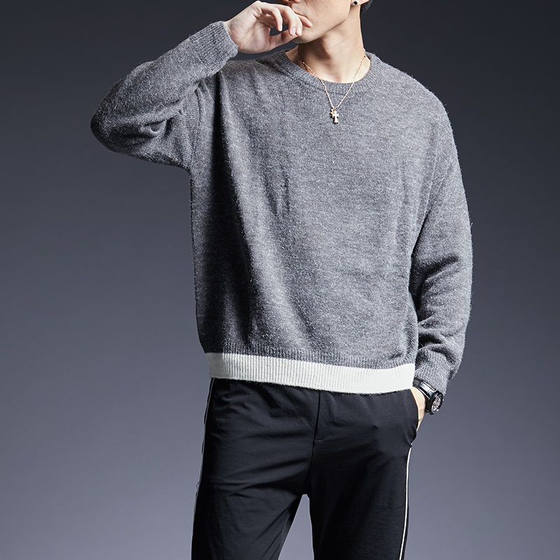 2019 New Fashion Brand Sweater For Mens Pullover Solid Color Slim Fit Jumpers Knit Warm Winter Korean Style Casual Men Clothes