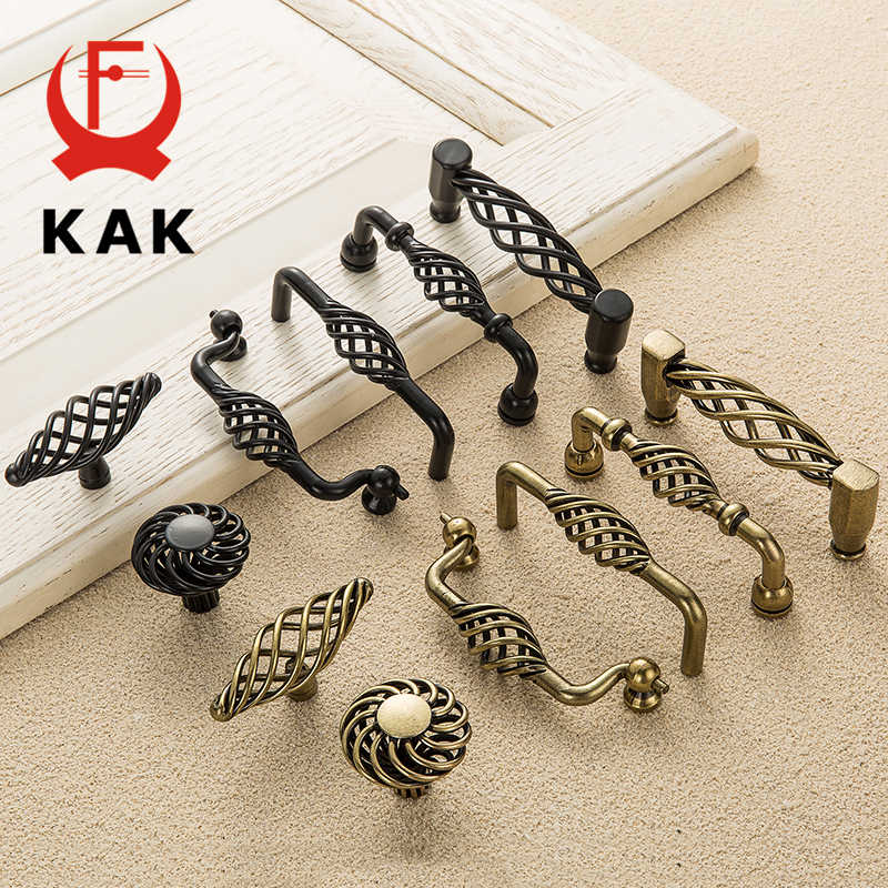 KAK Vintage Antique Bronze Cabinet Handles Hollow Out Birdcage Handles Drawer Knobs Wardrobe Door Pullers Furniture Handle