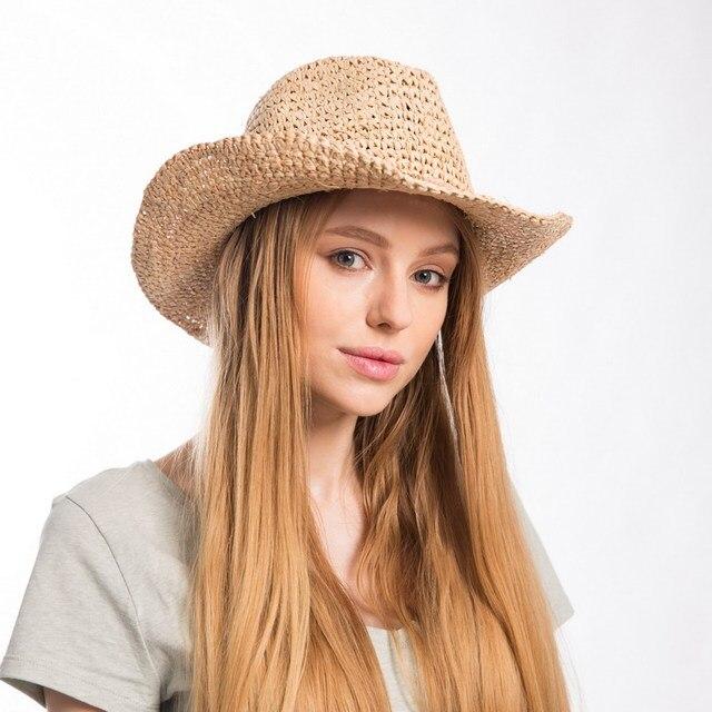 Visualizzza di più. Muchique Cappello Da Cowboy per Le Donne Belle Rafia  Paglia Crochet Estate Sun Protect Cappelli witn 483d6ebaf6b0