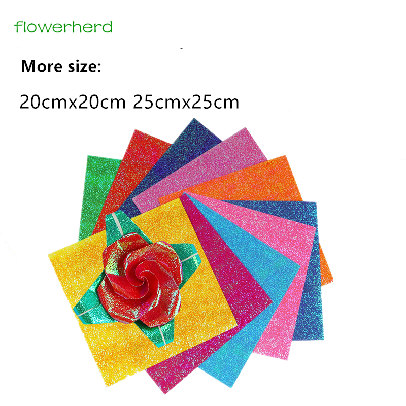 50pcs Mixed Color Pearly Shiny Square Origami Paper Single Sided DIY Paper Card Handmade Craft Gift for Kids Big Size