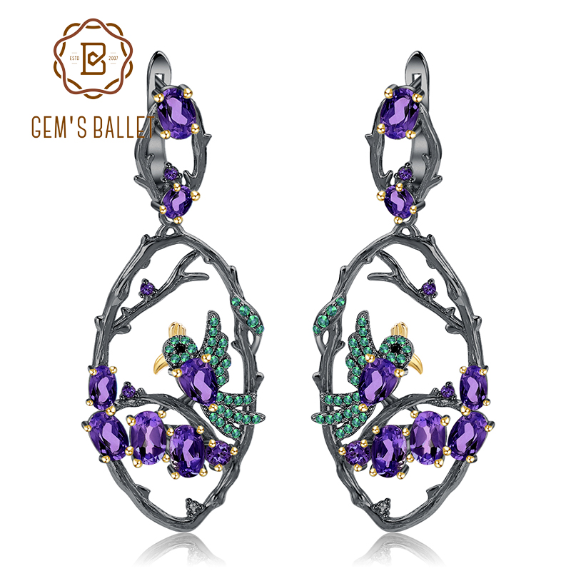 GEM S BALLET 6 26Ct Natural Amethyst Earrings Jewelry 925 Sterling Silver Handmade Bird on Branch