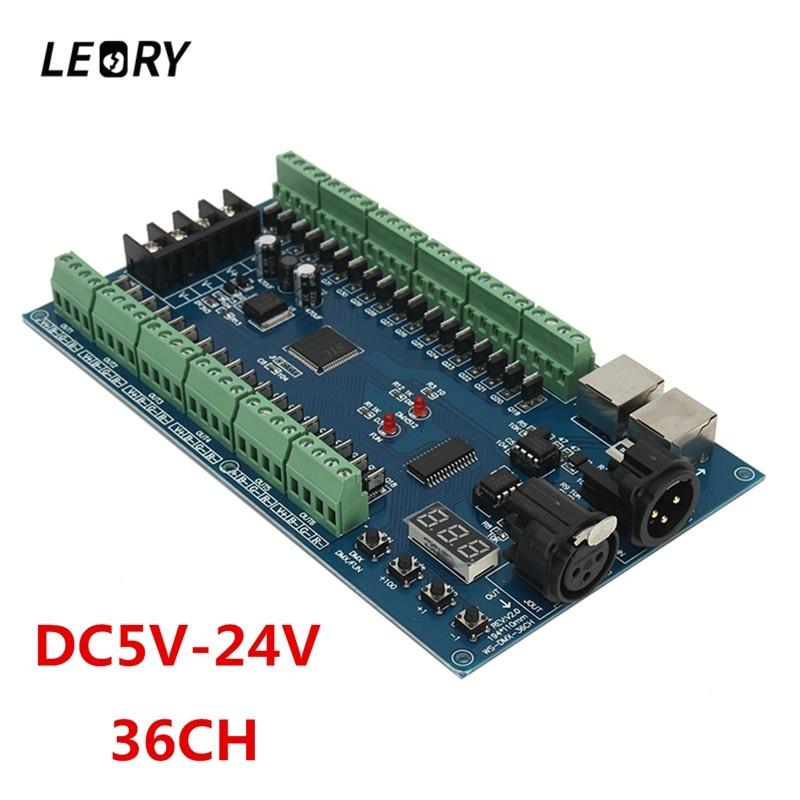 LEORY DMX 512 Controller 36 Channel XRL 3P DMX Lighting LED Controller Decoder DC 5-24V Dimmer For RGB LED Strip Lamp Driver xlr3 3p dmx512 relays connector 3pin terminal adapter xlr xlr3 3p dmx controller 3p to xlr use for dmx controller