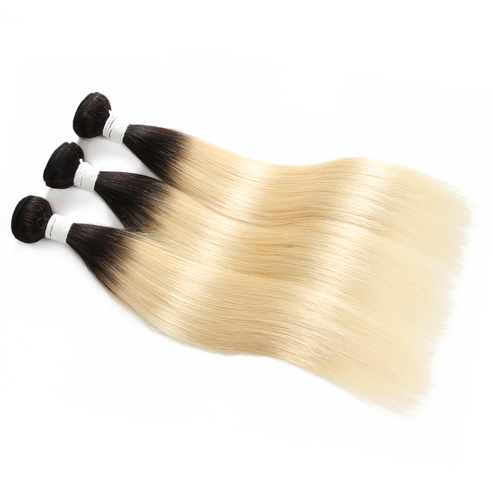Ombre Black Blonde 613# Color Straight Human Hair Weave 1/3/4 Bundles EUPHORIA Pre-Colored Remy Hair Weft Extensions 8-26inch