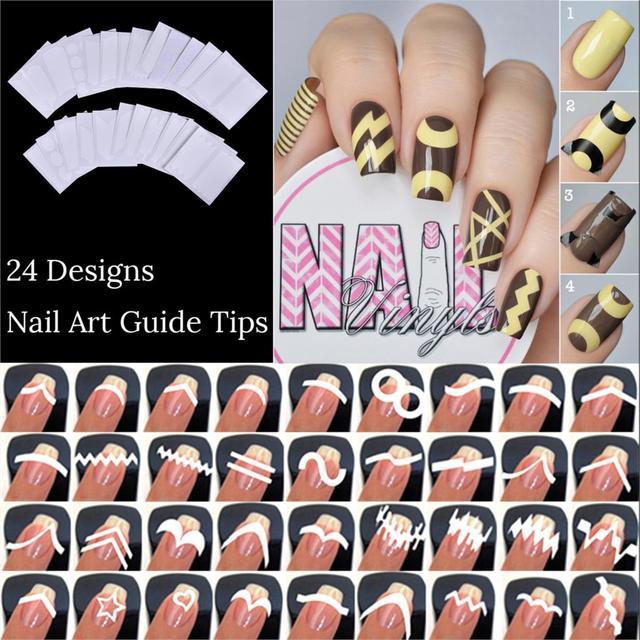 1 Set French Edge Tip Guides White Star Heart Nail Art 24 Sheets ...