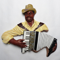 Crafts Arts Home decoration Wall murals ornaments Xinrong music accordion cafe bar decorated wall guitarist creative gifts