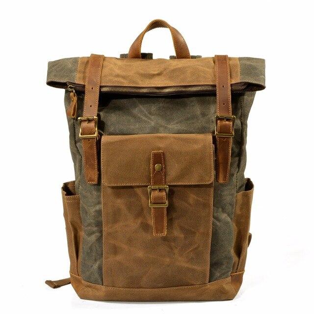 YUPINXUAN Hard Waterproof Canvas Leather Backpack Men Large Capacity Waxed  Daypacks Teenagers Vintage Canvas Rucksacks Retro Bag 475d21662007c