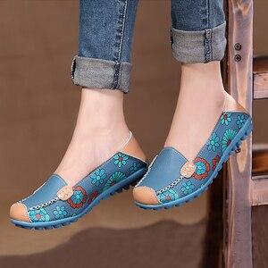 Image 5 - FEVRAL femmes chaussures décontractées en cuir véritable bateau confortable doux Gommino plat Ventilation mode impression chaussures femme 4 couleur