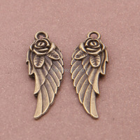 Free Shipping Wholesale Alloy Metal Antique Bronze Wing Charms For Jewelry Craft DIY 50Pcs 30x9mm YY7631