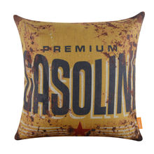 LINKWELL 45x45cm Retro Man Cave Premium Gasoline Rustic Yellow Linen Cushion Covers Pillowcase Home Decor Sofa