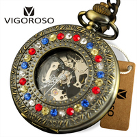 Diamond Ruby Edged Gorgeous Design Pocket Watch Mechanical Hand Winding Movement Skeleton Bronze Steel Vintage Retro Watch Gifts