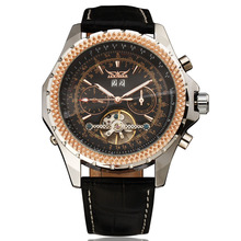 WINNER Men Dress Mechanical Wrist Watch Tourbillon Genuine Leather Strap Rhinestone Inlaid Bezel