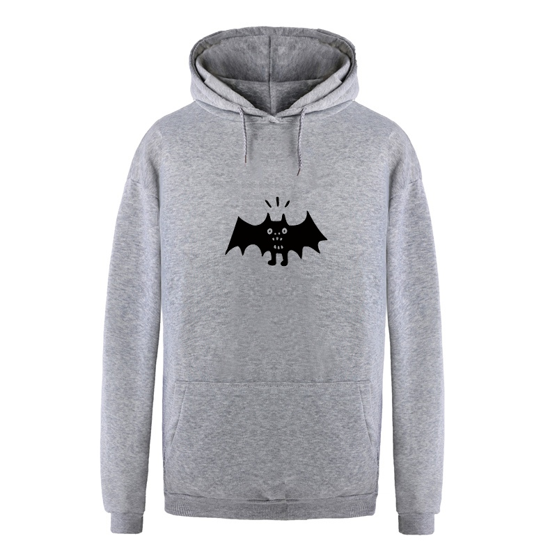 Printed Cartoon Bat Hoodies Women/Men 2018 Autumn Winter New Fashion Casual Fleece Gray Hooded Sweatshirts Long Sleeve Pullovers