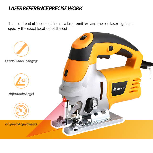 DEKO Laser Jig Saw, Variable Speed Includes 6pcs Blades, Metal Ruler, Dust Pipe, Allen Wrench Electric Saw Tools 1