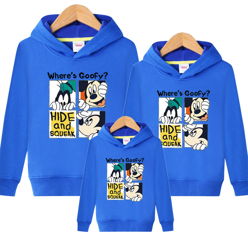 Family Matching Outfits Kids Long Sleeves Cartoon Mickey Hoodies Coats Father Mother Daughter Son Sweatshirts Dad Mom Hoodies