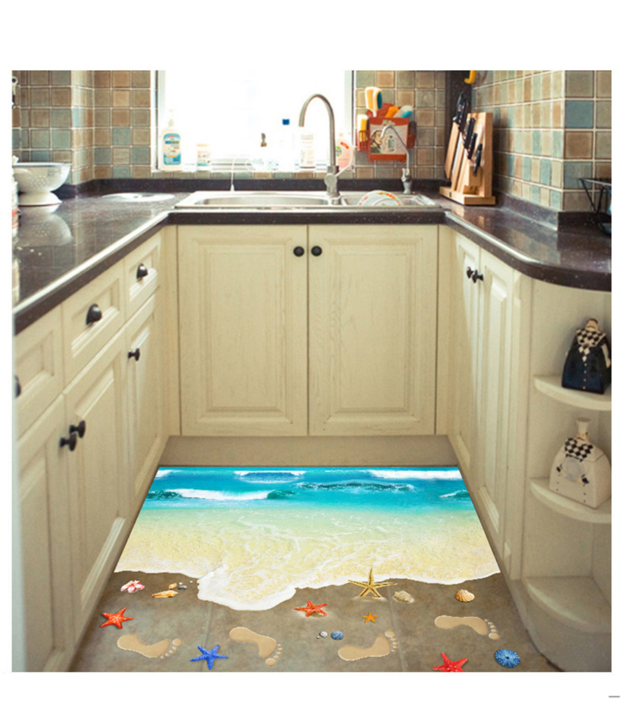 3D Wall Stickers Bedroom Living Starfish Footprint Beach Bathroom Floor  Sticker Sea Vinilos Paredes Kids