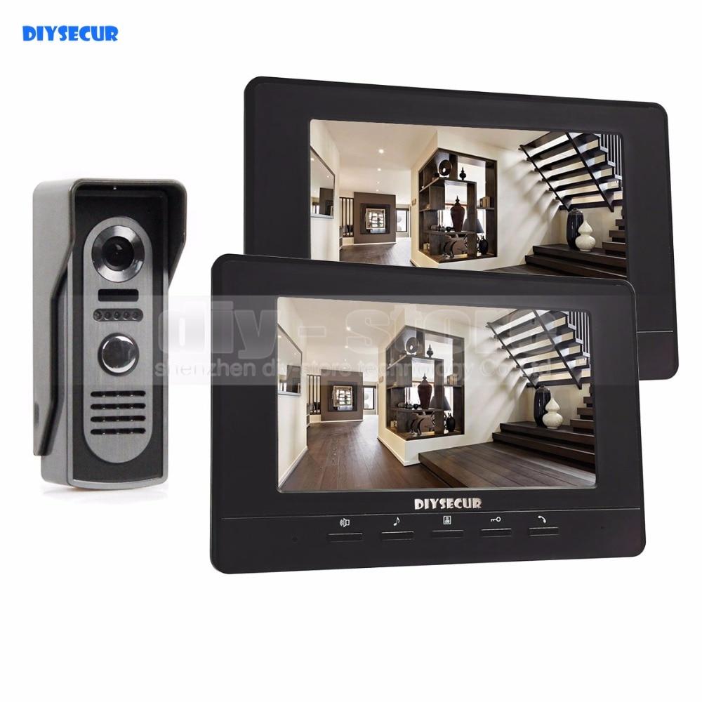 DIYSECUR 7inch Video Intercom Video Door Phone 800 X 480 Screen IR Night Vision Outdoor Camera Black 1v2