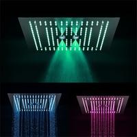 400*400mm three function rainfall LED shower heads with spray, rain, water curtain