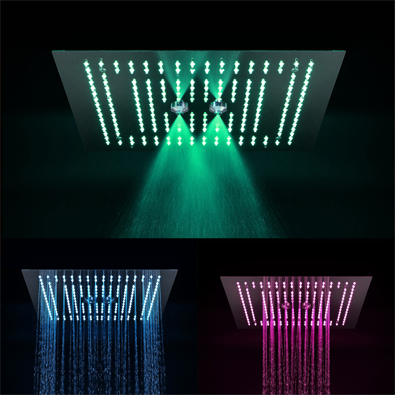 400*400mm three-function rainfall LED shower heads with spray, rain, water curtain deer water resistant shower curtain