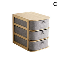 Multi layers Bamboo Wood Storage Box with Oxford Cloth Drawers for Desktop @LS AP12