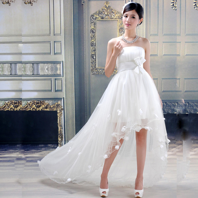 2014 Spring Short Trailing Wedding Dress Short Front With Trailing
