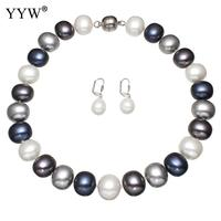 Natural Pearl Jewelry Sets Earring Necklace White Round Necklace Earring Jewelry Fine Wedding For Elegant Women