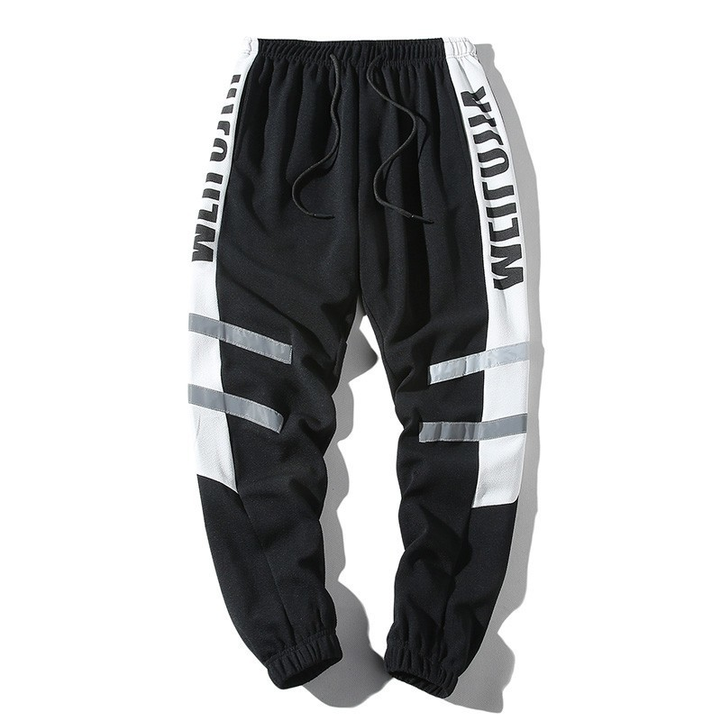 HTLB Male Trousers Harem-Pants Joggers Color-Block Patchwork Elastic Harajuku Hip-Hop