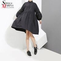 Nowy 2018 Korea Styl Wiosna Kobiety Solid Black Koszula Sukienka latarnia Rękaw Kolano Długość Dziewczyny Słodkie Nosić Luźnych Sukienka Hurtownie 3411