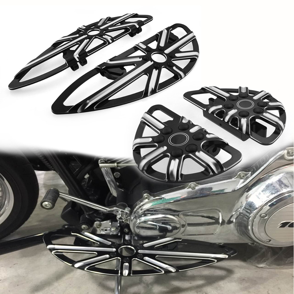 Motorcycle Chromed Stretched Front rear Drive Floorboards footpegs for Harley roadking FLH FLST FLD motorcycles parts pedal black cast chrome rear black passenger floorboards for harley flh flst fld