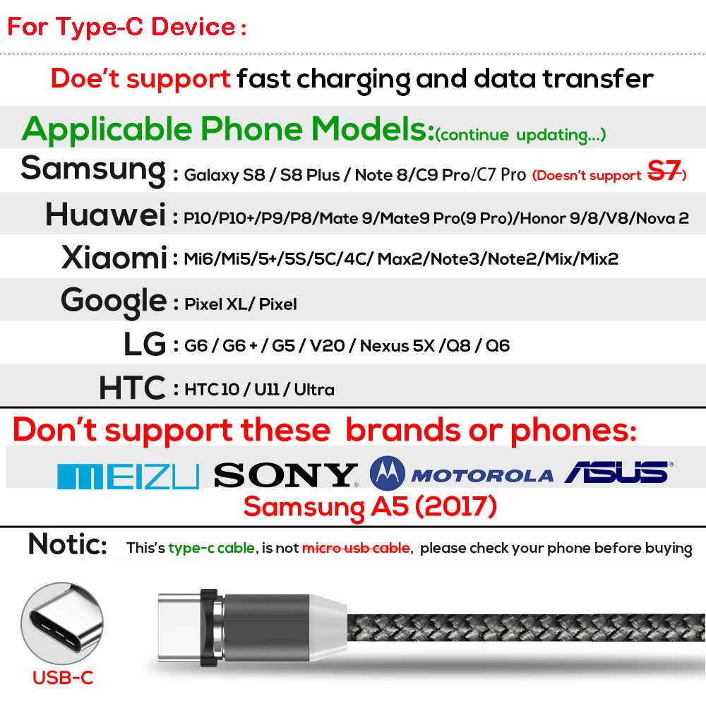 1M LED Magnetik Cepat Pengisian Kabel untuk iPhone XR X Max X 8 7 6S Plus Micro USB tipe-C Magnetic USB Ponsel Charger Kabel Kawat