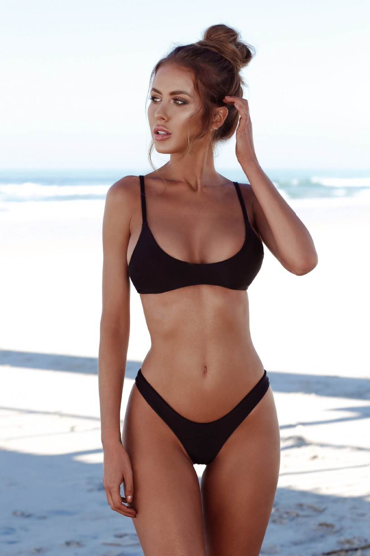 2018 New Model Women Sexy Bikini Set Solid Bikinis Black -1158